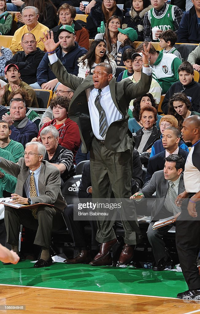 Doc Rivers of the Boston Celtics jumps up off the bench during the game against the Toronto Raptors on November 17, 2012 at the TD Garden in Boston, Massachusetts.