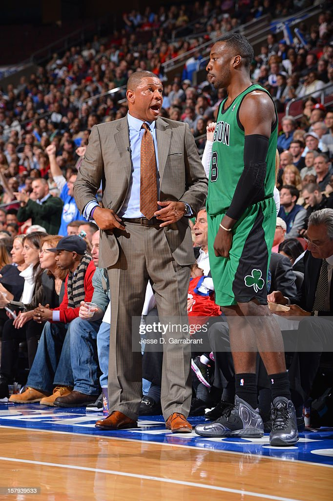 Doc Rivers of the Boston Celtics talks with Jeff Green during the game against the Philadelphia 76ers at the Wells Fargo Center on December 7, 2012 in Philadelphia, Pennsylvania.