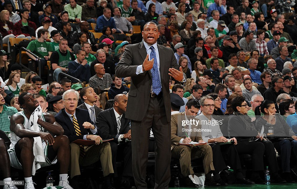Doc Rivers of the Boston Celtics yelling to his players during the game against the Phoenix Suns on January 9, 2013 at the TD Garden in Boston, Massachusetts.