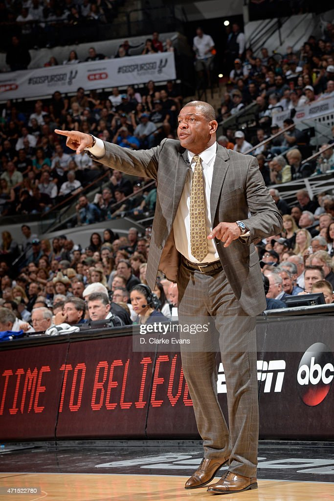 Doc Rivers of the Los Angeles Clippers coaches against the San Antonio Spurs in Game Four of the Western Conference Quarterfinals during the 2015 NBA Playoffs on April 26, 2015 at the AT&T Center in San Antonio, Texas.