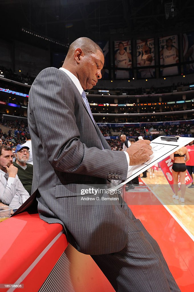 <a gi-track='captionPersonalityLinkClicked' href=/galleries/search?phrase=Doc+Rivers&family=editorial&specificpeople=206225 ng-click='$event.stopPropagation()'>Doc Rivers</a> of the Los Angeles Clippers draws up a play at halftime against the Utah Jazz at Staples Center on October 23, 2013 in Los Angeles, California.