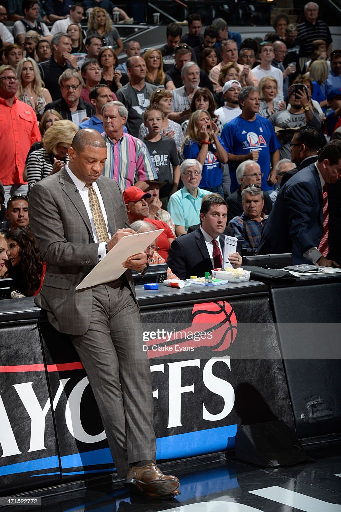 Doc Rivers of the Los Angeles Clippers draws up plays before Game Four of the Western Conference Quarterfinals against the San Antonio Spurs during the 2015 NBA Playoffs on April 26, 2015 at the AT&T Center in San Antonio, Texas.
