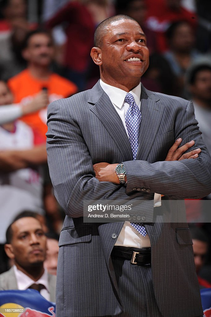 <a gi-track='captionPersonalityLinkClicked' href=/galleries/search?phrase=Doc+Rivers&family=editorial&specificpeople=206225 ng-click='$event.stopPropagation()'>Doc Rivers</a> of the Los Angeles Clippers reacts from the sideline against the Utah Jazz at Staples Center on October 23, 2013 in Los Angeles, California.