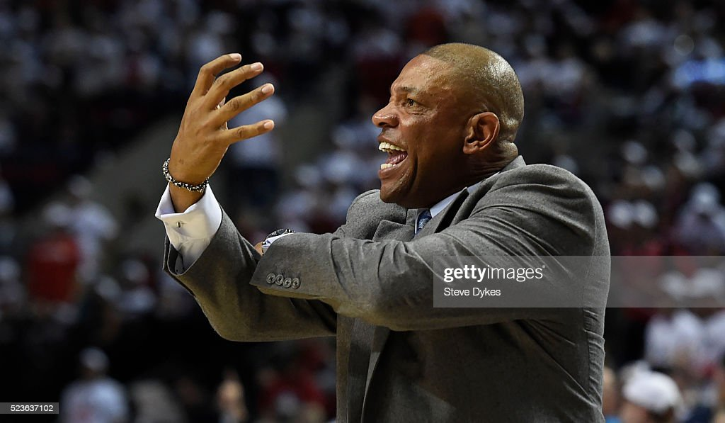 <a gi-track='captionPersonalityLinkClicked' href=/galleries/search?phrase=Doc+Rivers&family=editorial&specificpeople=206225 ng-click='$event.stopPropagation()'>Doc Rivers</a> of the Los Angeles Clippers reacts to an officials call in the third quarter of Game Three of the Western Conference Quarterfinals against the Portland Trail Blazers during the 2016 NBA Playoffs at the Moda Center on April 23, 2016 in Portland, Oregon. The Blazers won the game 96-88.