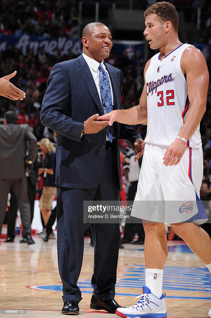 Doc Rivers of the Los Angeles Clippers speaks to Blake Griffin #32 during their game against the Houston Rockets at Staples Center on November 4, 2013 in Los Angeles, California.