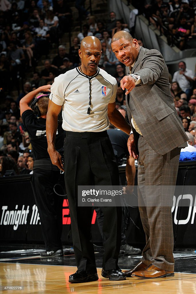 Doc Rivers of the Los Angeles Clippers talks to an official against the San Antonio Spurs in Game Four of the Western Conference Quarterfinals during the 2015 NBA Playoffs on April 26, 2015 at the AT&T Center in San Antonio, Texas.