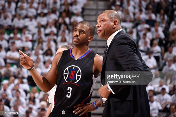 Doc Rivers of the Los Angeles Clippers talks with Chris Paul of the Los Angeles Clippers during the game against the Utah Jazz during the Western...
