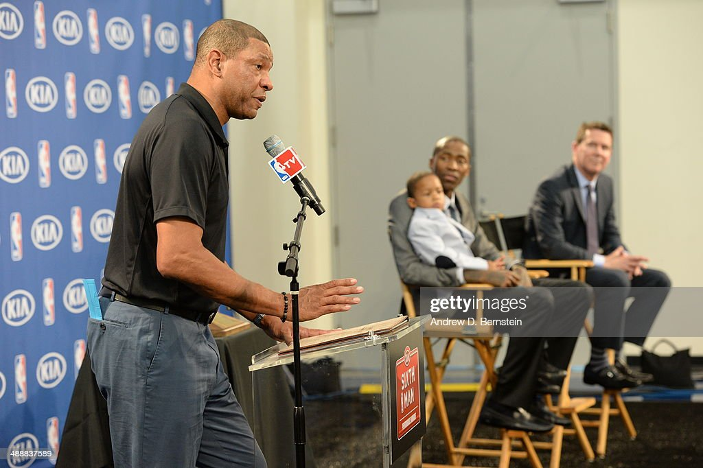 Doc Rivers speaks during the Jamal Crawford Sixth Man Award Press Conference at the Los Angeles Clippers Training Facility on May 8, 2014 in Playa Vista, California.