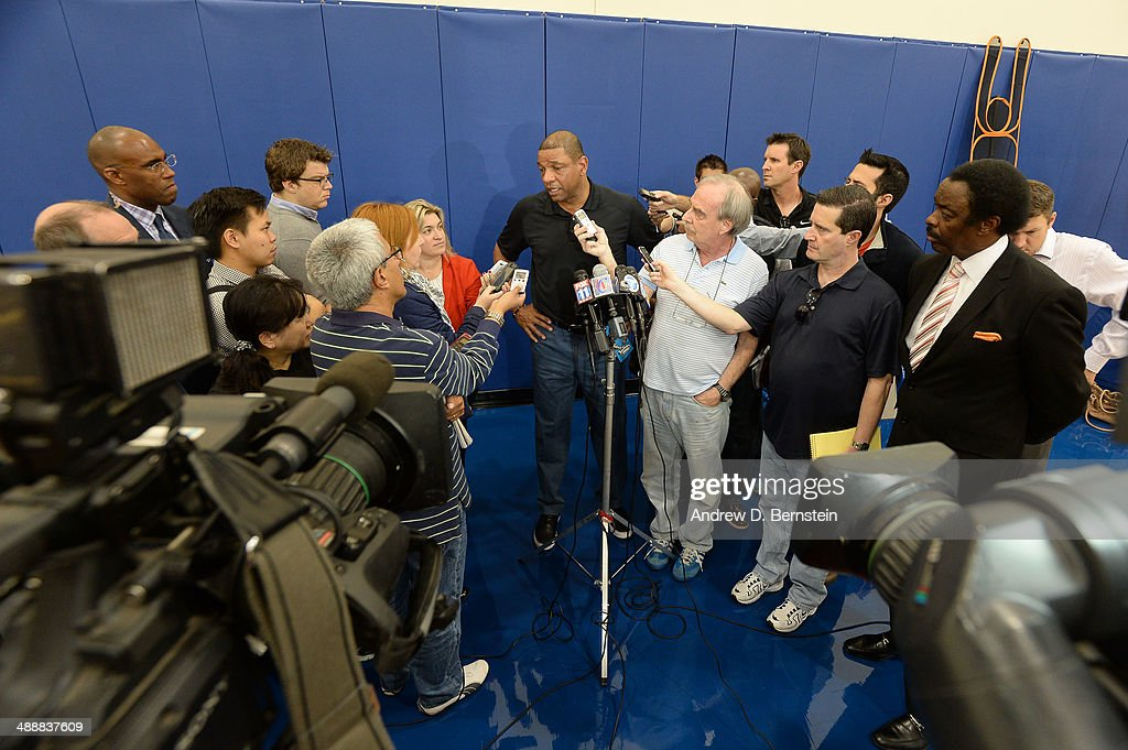 <a gi-track='captionPersonalityLinkClicked' href=/galleries/search?phrase=Doc+Rivers&family=editorial&specificpeople=206225 ng-click='$event.stopPropagation()'>Doc Rivers</a> speaks to the media before the Jamal Crawford Sixth Man Award Press Conference at the Los Angeles Clippers Training Facility on May 8, 2014 in Playa Vista, California.