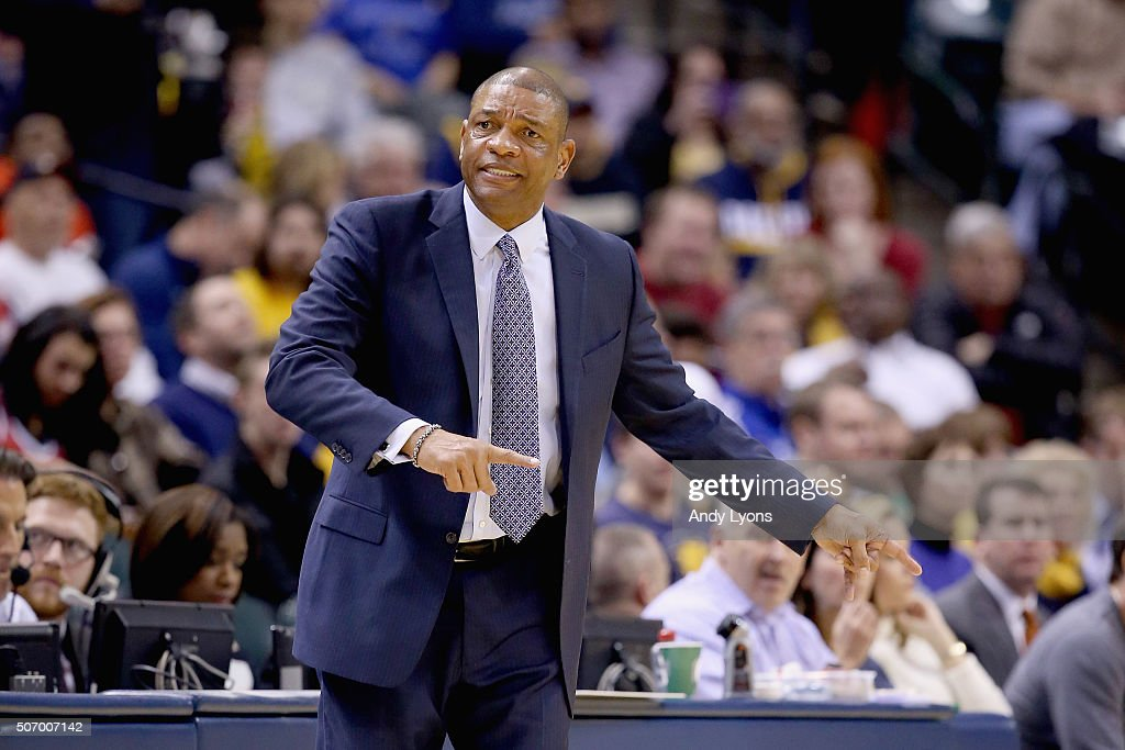 Doc Rivers the head coach of the Los Angeles Clippers gives instructions to his team during the game against the Indiana Pacers at Bankers Life...