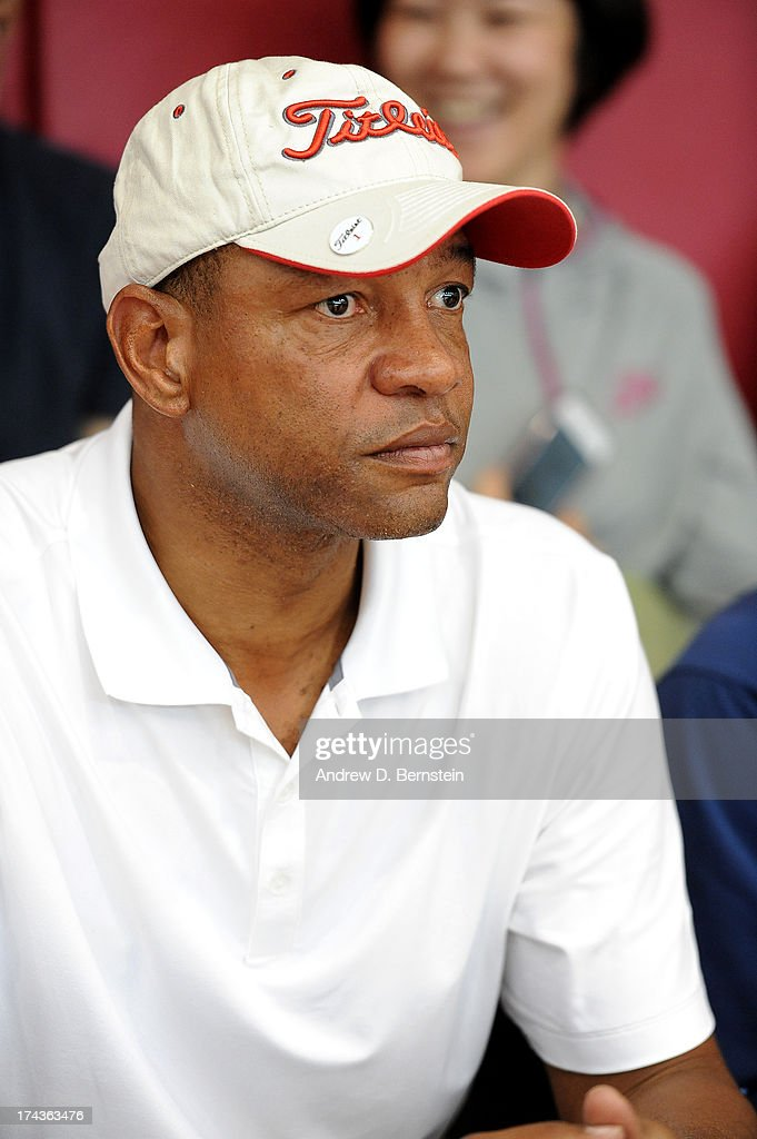 <a gi-track='captionPersonalityLinkClicked' href=/galleries/search?phrase=Doc+Rivers&family=editorial&specificpeople=206225 ng-click='$event.stopPropagation()'>Doc Rivers</a> watches the USA Basketball Men's National Team during practice at Training Camp at the Mendenhall Center on July 24, 2013, in Las Vegas, Nevada.