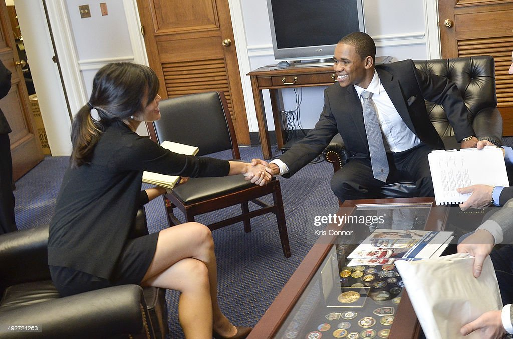 <a gi-track='captionPersonalityLinkClicked' href=/galleries/search?phrase=Doc+Shaw&family=editorial&specificpeople=6262094 ng-click='$event.stopPropagation()'>Doc Shaw</a> meets with a staff member in Rep. Adam B. Schiff(D-CA) office in the Rayburn House Office Building during NAMM D.C. Fly-in at the US Capitol on May 21, 2014 in Washington, DC.