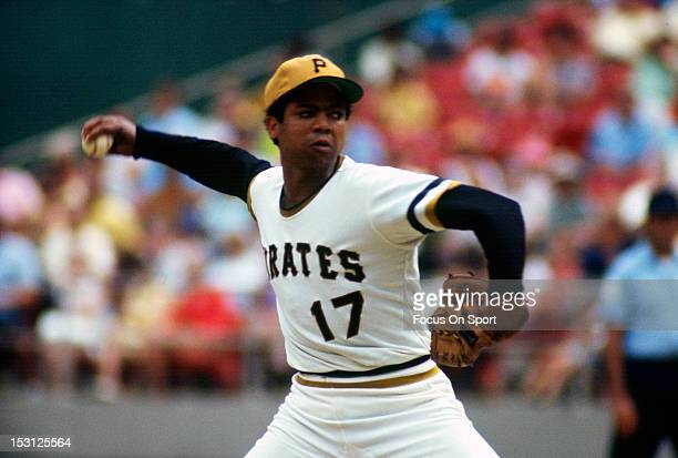 Dock Ellis of the Pittsburgh Pirates pitches during an Major League Baseball game circa 1970 at Three River Stadium in Pittsburgh Pennsylvania Ellis...