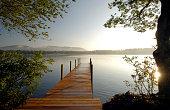 A long dock out on Lake Winnipesaukee.