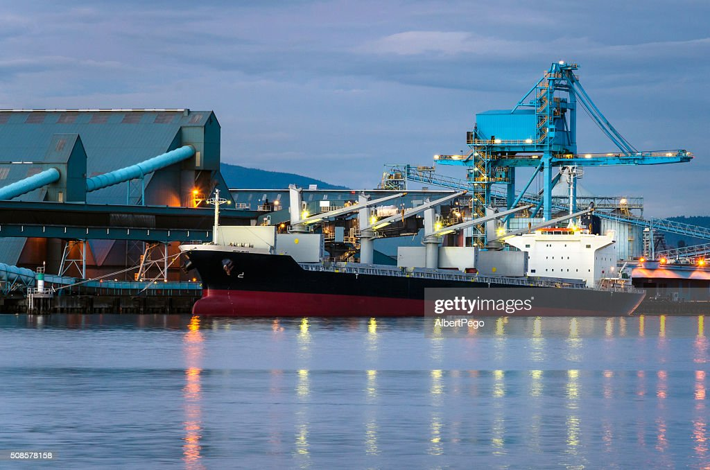 Docked Cargo Ship at Night : Stock Photo