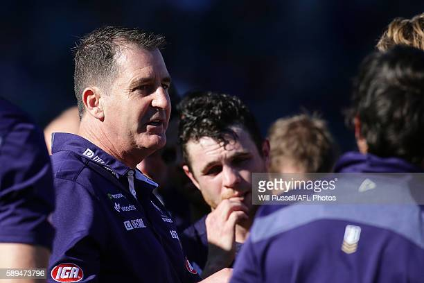 Dockers coach Ross Lyon addresses the players at the quarter time break during the round 21 AFL match between the Fremantle Dockers and the Adelaide...