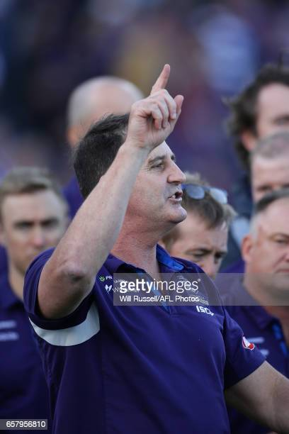 Dockers coach Ross Lyon addresses the players at the quarter time break during the round one AFL match between the Fremantle Dockers and the Geelong...