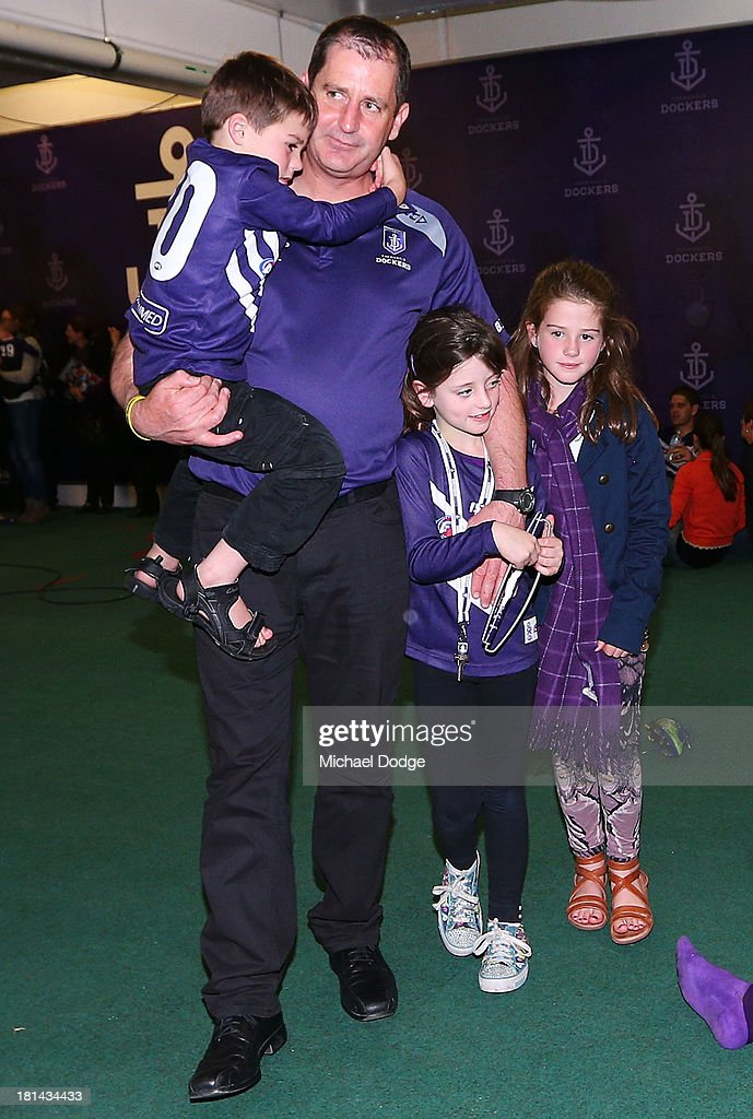 Dockers coach Ross Lyon celebrates the win with his kids during the AFL Second Preliminary Final match between the Fremantle Dockers and the Sydney Swans at Patersons Stadium on September 21, 2013 in Perth, Australia.