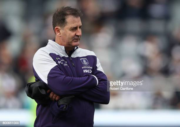 Dockers coach Ross Lyon is seen prior to the round 14 AFL match between the Geelong Cats and the Fremantle Dockers at Simonds Stadium on June 25 2017...