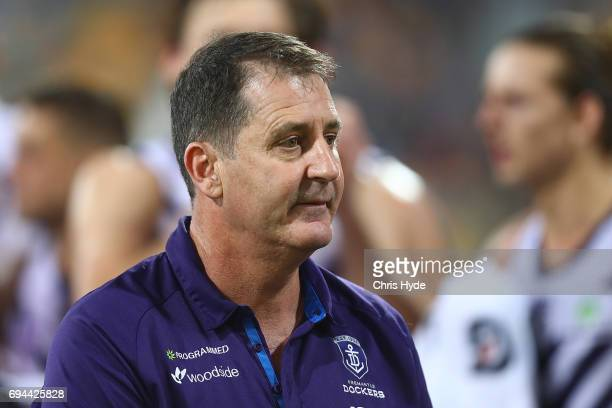 Dockers coach Ross Lyon looks on during the round 12 AFL match between the Brisbane Lions and the Fremantle Dockers at The Gabba on June 10 2017 in...