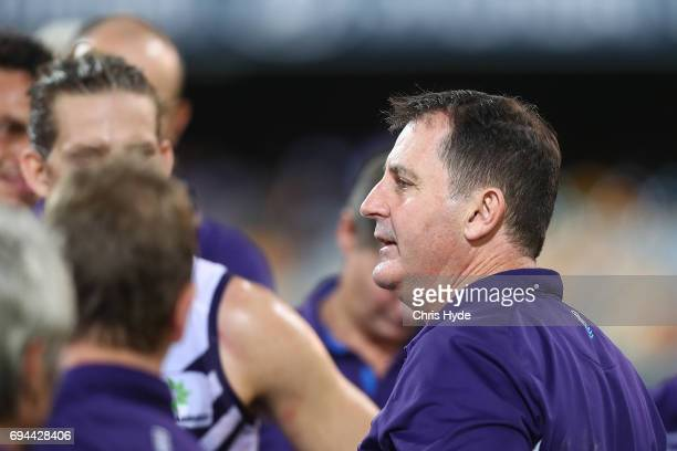 Dockers coach Ross Lyon talks to players during the round 12 AFL match between the Brisbane Lions and the Fremantle Dockers at The Gabba on June 10...