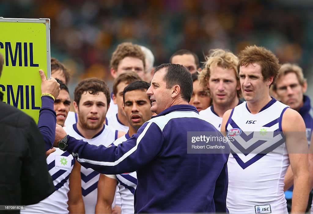 Dockers coach Ross Lyon talks to the players at the break during the round four AFL match between the Hawthorn Hawks and the Fremantle Dockers at Aurora Stadium on April 20, 2013 in Launceston, Australia.