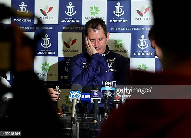 Dockers coach Ross Lyon waits for the start of his media session before a Fremantle Dockers AFL training session at Fremantle Oval on September 9...