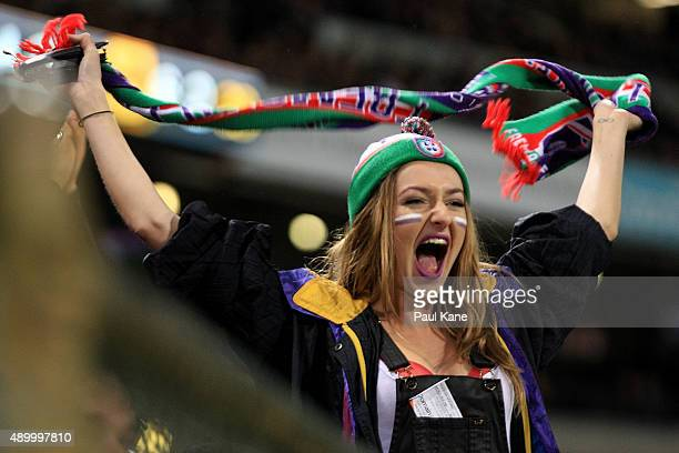 Dockers fan shows her support during the AFL First Preliminary Final match between the Fremantle Dockers and the Hawthorn Hawks at Domain Stadium on...