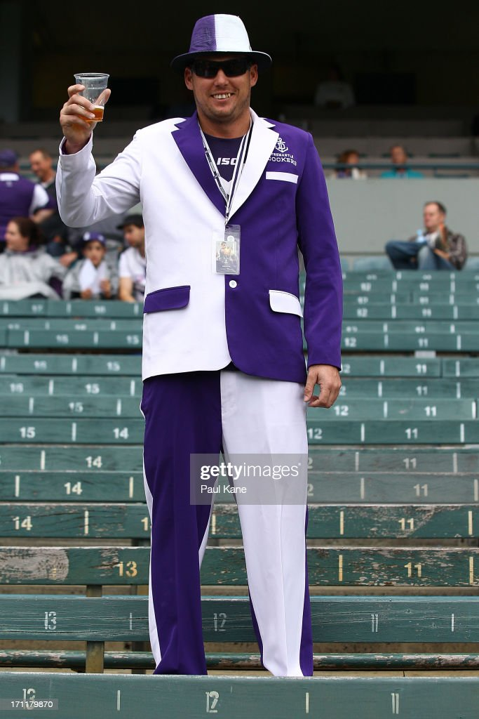 A Dockers fan shows his support before the round 13 AFL match between the Fremantle Dockers and the North Melbourne Kangaroos at Patersons Stadium on June 23, 2013 in Perth, Australia.