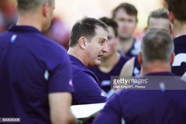 Dockers head coach Ross Lyon speaks to players at three quarter time during the round 21 AFL match between the Sydney Swans and the Fremantle Dockers...