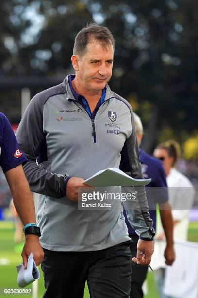 Dockers head coach Ross Lyon walks from the field at half time during the round two AFL match between the Port Adelaide Power and the Fremantle...