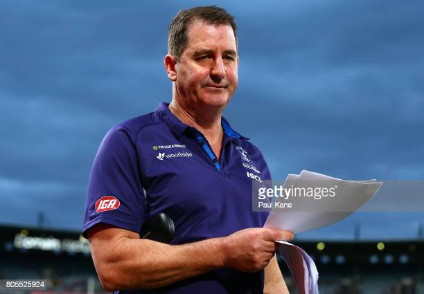 Dockers head coach Ross Lyon walks to the rooms after being defeated during the round 15 AFL match between the Fremantle Dockers and the St Kilda...