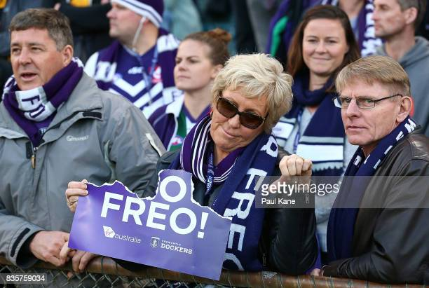 Dockers supporter shows her feelings following the round 22 AFL match between the Fremantle Dockers and the Richmond Tigers at Domain Stadium on...
