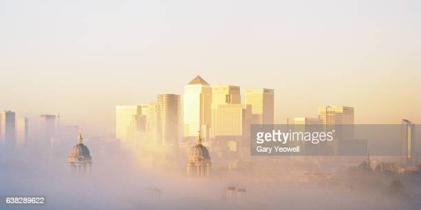 Docklands London in mist