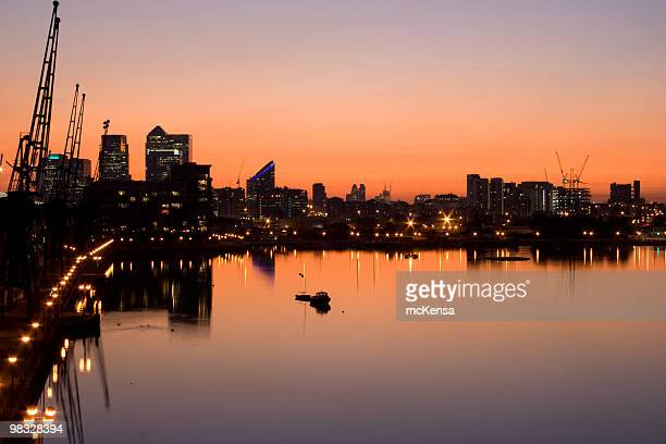 Docklands skyline at twilight