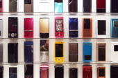 NTT DoCoMo's new mobile phones on display during a press preview in Tokyo 01 November 2007 NTT DoCoMo announced 10 new 905i serires and 13 of 705i...