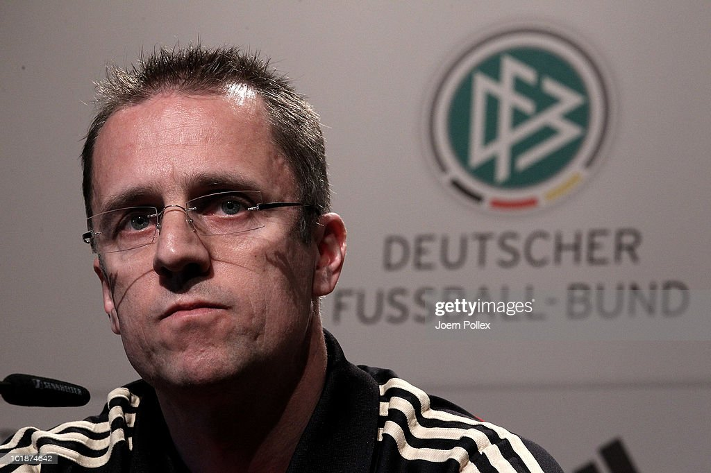 Doctor and member of the medical team <a gi-track='captionPersonalityLinkClicked' href=/galleries/search?phrase=Tim+Meyer&family=editorial&specificpeople=623213 ng-click='$event.stopPropagation()'>Tim Meyer</a> of Germany speaks to the media during a press conference in the media center at Velmore Grande Hotel on June 8, 2010 in Pretoria, South Africa.