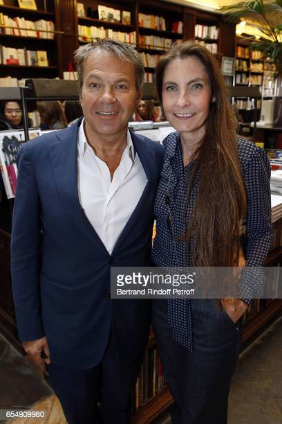 Doctor Bertrand Matteoli and his wife Francisca Matteoli attend Bertrand Matteoli Signing Book 'Bien Dans Sa Peau' at Librairie Galignali on March 18...