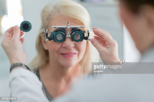 Doctor examining vision