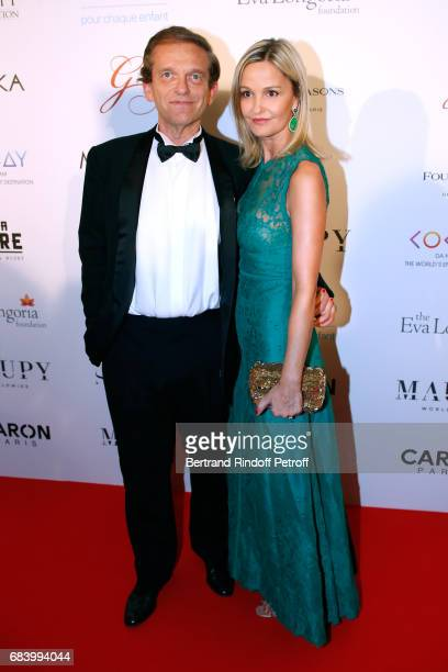 Doctor Frederic Saldmann and his wife Marie Saldmann attend the 'Global Gift the Eva Foundation' Gala Photocall at Hotel George V on May 16 2017 in...