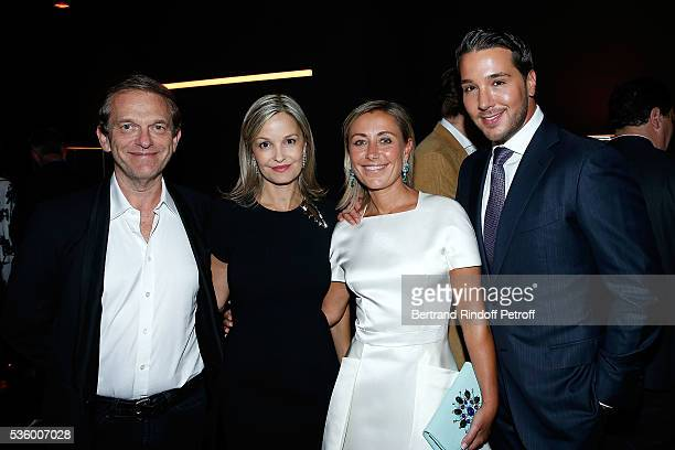 Doctor Frederic Saldmann his wife Marie Claire DurocDanner and Lucas Somoza attend the Audemars Piguet Rue Royale Boutique Opening on May 26 2016 in...