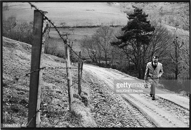 Doctor Georges Vieilledent, walking on a country road on March, 1982 in Haute-Loire, France.