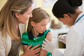 Doctor giving girl injection while mother watches