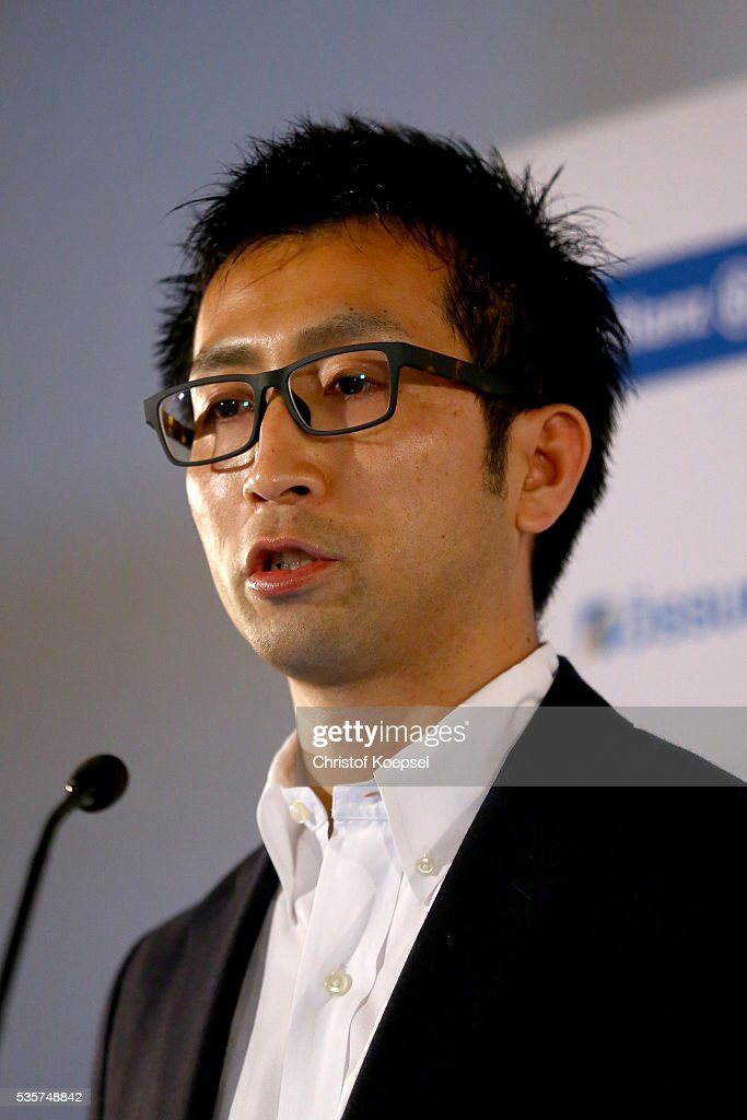 Doctor Hiroaki Hobara, National Institute of Advanced Industrial Science and Technology of Human Informatics Research Institute of Tokyo announces a study during a press conference of Markus Rehm, handicapped longjumper and Paralympics winner of London 2012 at German Sport & Olympic Museum on May 30, 2016 in Cologne, Germany.