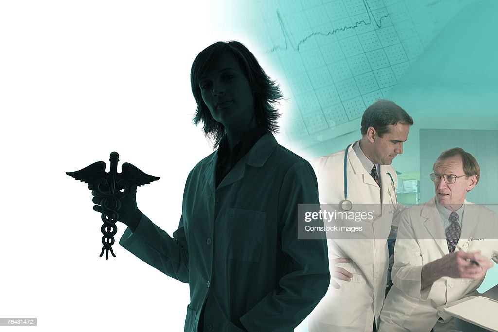 Doctor holding caduceus