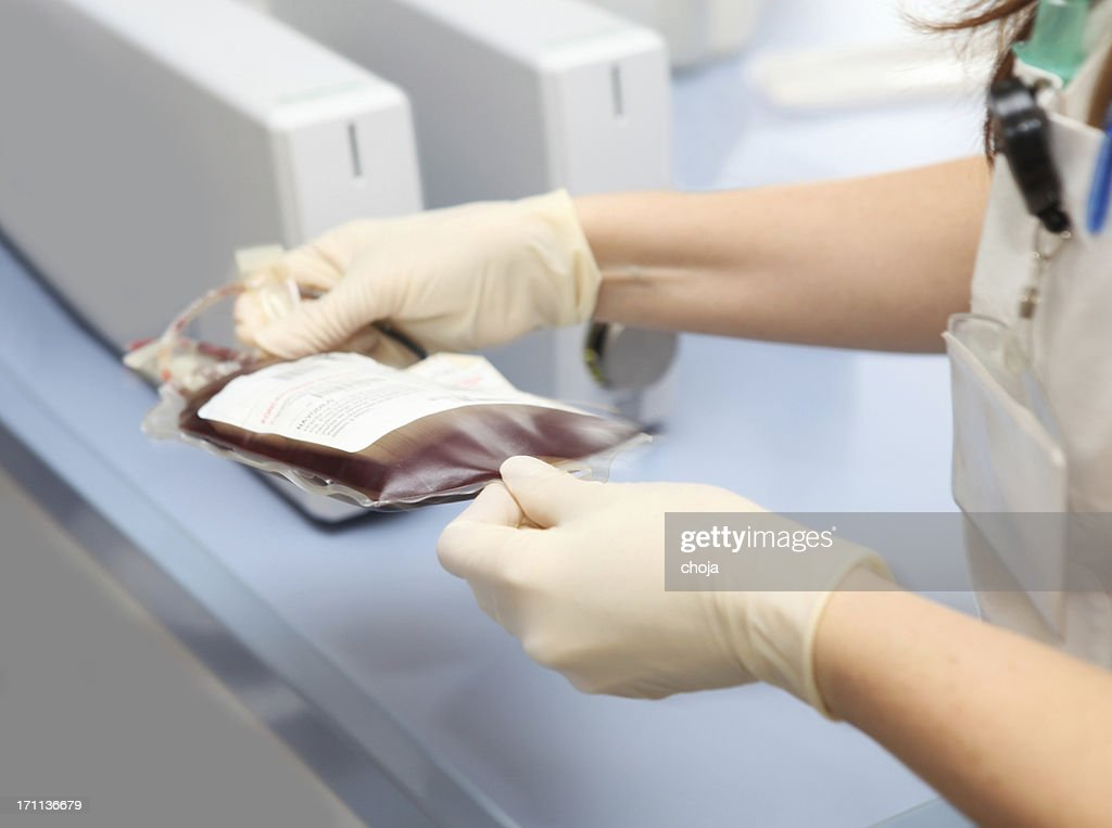 In a blood bank