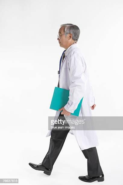 A doctor is walking.