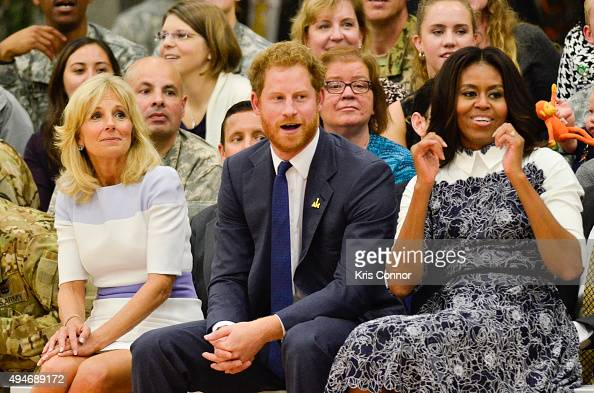 Doctor Jill Biden Prince Harry and First Lady Michelle Obama watch during the Joining Forces Invictus Games 2016 Event at the Wells Fields House on...