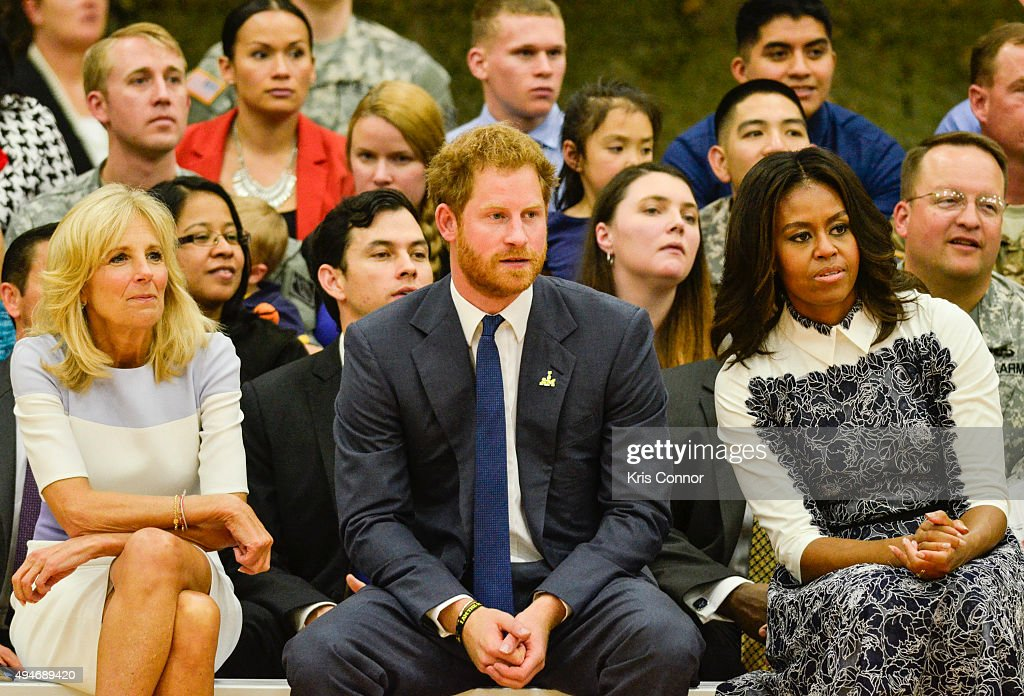 Doctor Jill Biden, Prince Harry and First Lady Michelle Obama watch during the Joining Forces Invictus Games 2016 Event at the Wells Fields House on October 28, 2015 in Fort Belvoir, Va.