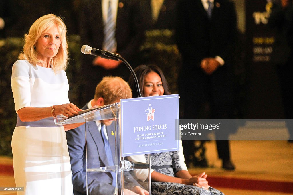 Doctor Jill Biden speaks as Prince Harry and First Lady Michelle Obama listen during the Joining Forces Invictus Games 2016 Event at the Wells Fields House on October 28, 2015 in Fort Belvoir, Va.